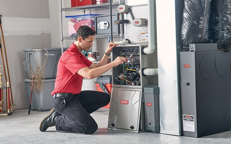 Man working on the heating system