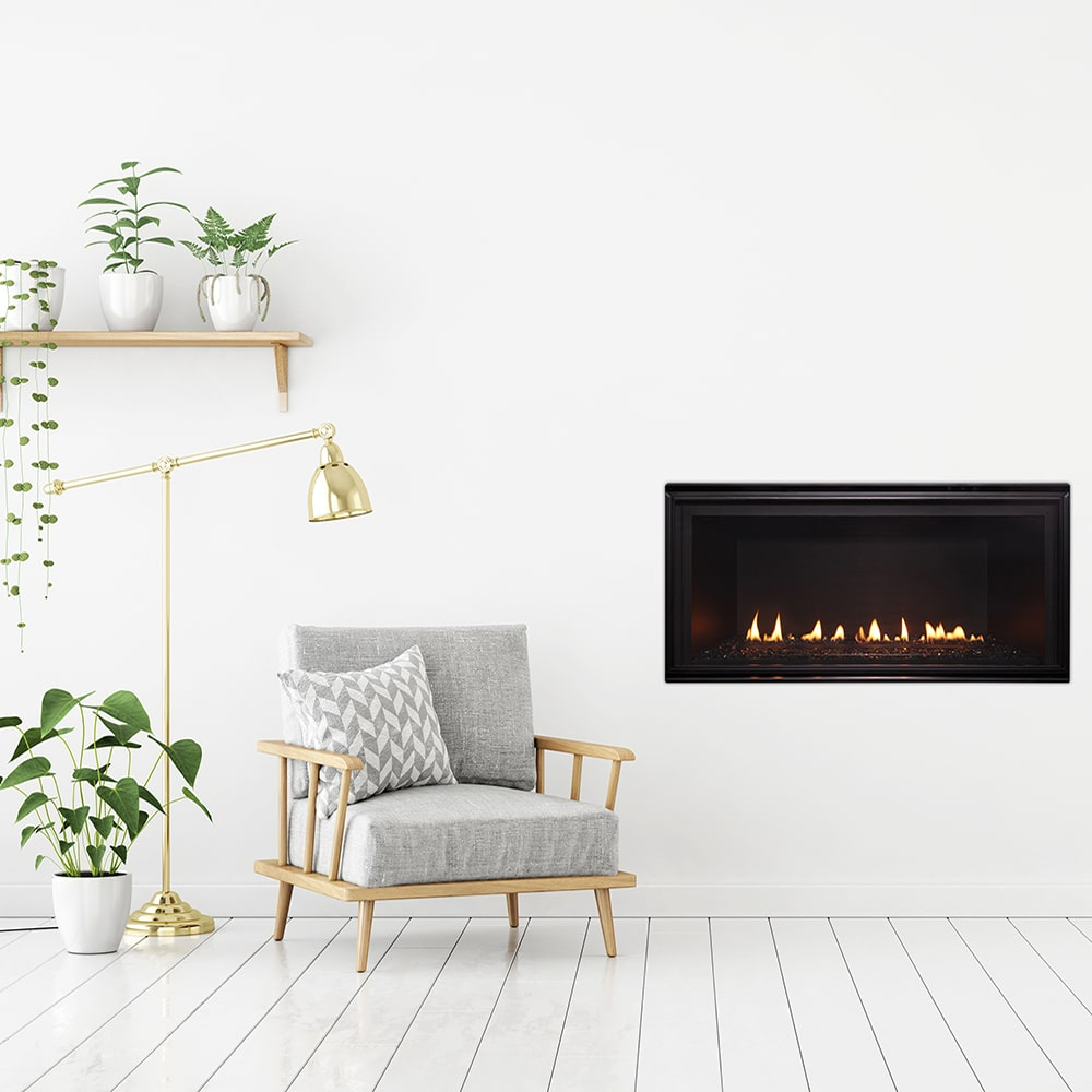 Mode minimalist living room with a fireplace